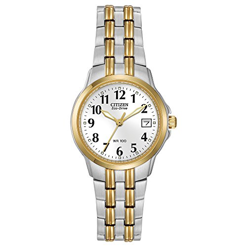 Top 13 Cheap Women's Watches That Look Expensive - Citizen Women's Silver and Gold Tone Eco-Drive Watch with Date, EW1544-53A